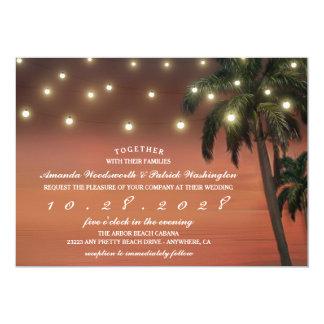 Convites do casamento de praia do por do sol da