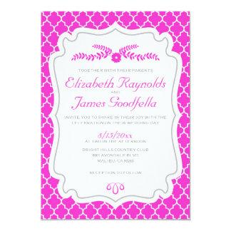 Convites do casamento de Quatrefoil do rosa quente