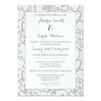 Convites do casamento, design cinzento do laço
