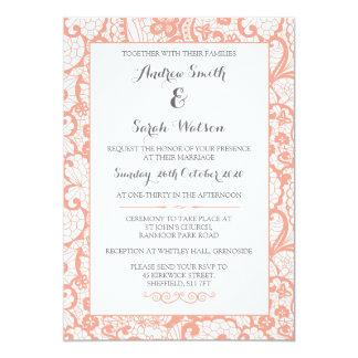 Convites do casamento, design coral do laço