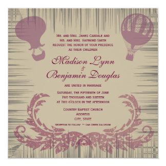 Convites do casamento do balão de ar quente do convite quadrado 13.35 x 13.35cm