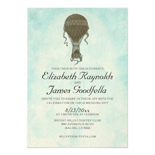 Convites do casamento do balão de ar quente do vin