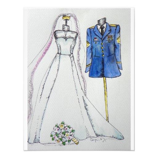 Convites do casamento do exército