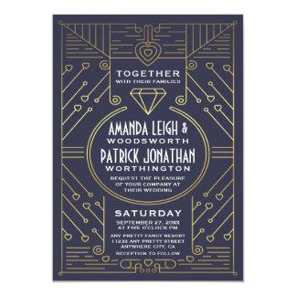 Convites do casamento do marinho e do ouro do
