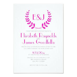 Convites do casamento do monograma do rosa quente