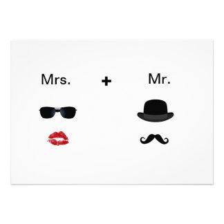 Convites do casamento do Moustache do bordo