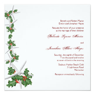 Convites do casamento do Natal da estrela do mar e