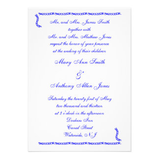 Convites do casamento do nó dos marinheiros