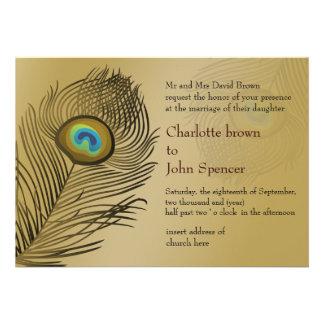 convites do casamento do pavão do ouro