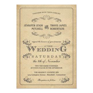 Convites do casamento do pergaminho do Flourish do