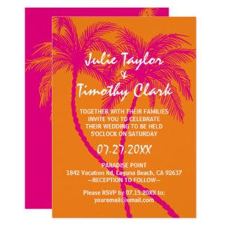 Convites do casamento do rosa quente e da laranja