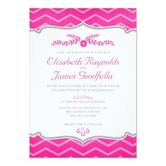 Convites do casamento do ziguezague do rosa quente
