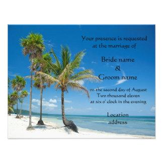 Convites do casamento ou partido tropical da praia