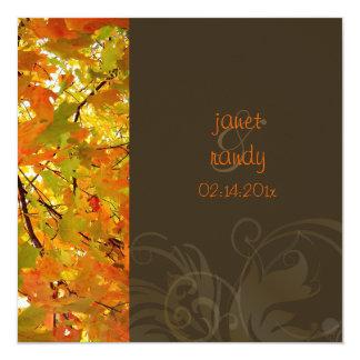 Convites do casamento outono/folhas de bordo