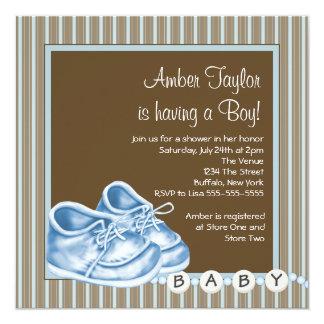 Convites do chá de Brown & de bebé da listra azul