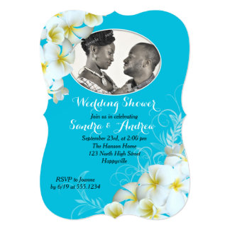 Convites do chá de casamento da foto do Plumeria