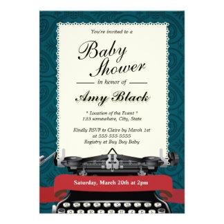 Convites do chá de fraldas da máquina de escrever