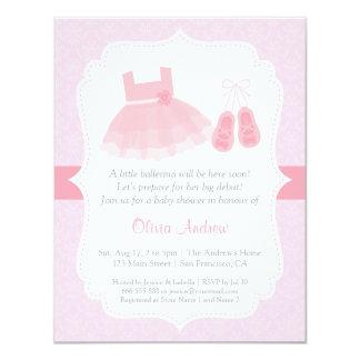 Convites do chá de fraldas da menina da bailarina