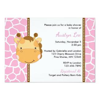 Convites do chá de fraldas da menina do girafa