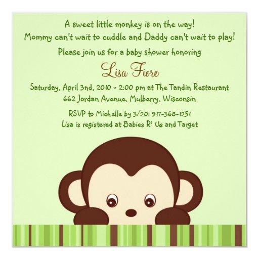 Convites do chá de fraldas da selva do macaco da convite quadrado 13.35 x 13.35cm