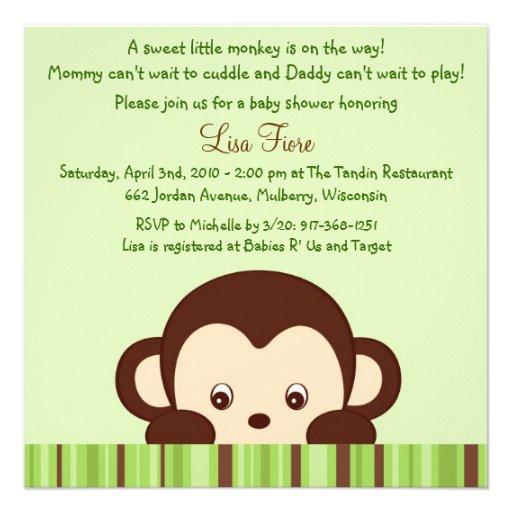 Convites do chá de fraldas da selva do macaco da m