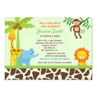 Convites do chá de fraldas da selva do safari convite 12.7 x 17.78cm