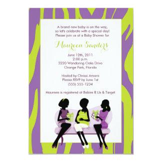 Convites do chá de fraldas da zebra - roxo & verde convite 12.7 x 17.78cm