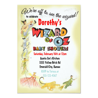 Convites do chá de fraldas de mágico de Oz do