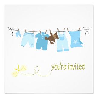 Convites do chá de fraldas do Clothesline