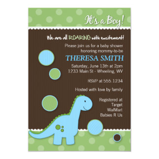 Convites do chá de fraldas do dinossauro rujir