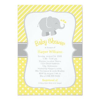 Convites do chá de fraldas do elefante | amarelo e