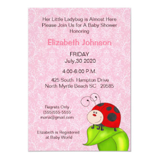 Convites do chá de fraldas do joaninha
