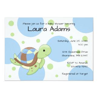 Convites do chá de fraldas do menino da tartaruga