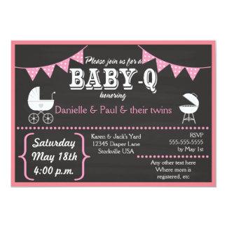 Convites do chá de fraldas do quadro do Bebê-q