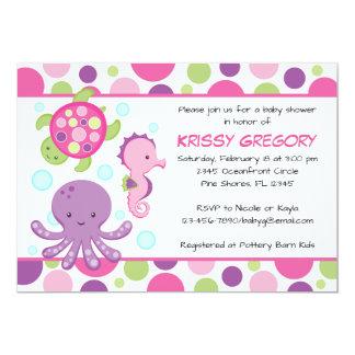 Convites do chá de fraldas do rosa de mar