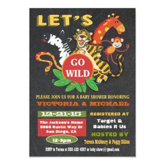 Convites do chá de fraldas do safari de selva do
