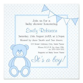 Convites do chá de fraldas do urso de ursinho -