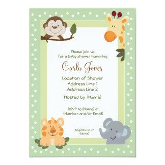 Convites do chá de fraldas do verde 5x7 do safari convite 12.7 x 17.78cm