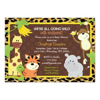 Convites do chá de fraldas dos amigos da selva do
