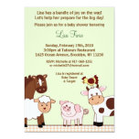 Convites do chá de fraldas dos animais de fazenda