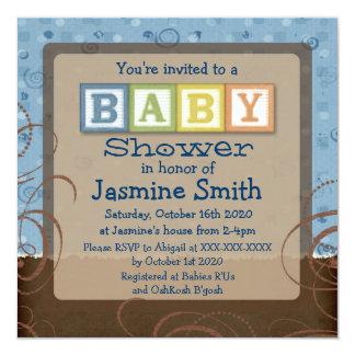 Convites do chá dos blocos do bebê do marrom azul