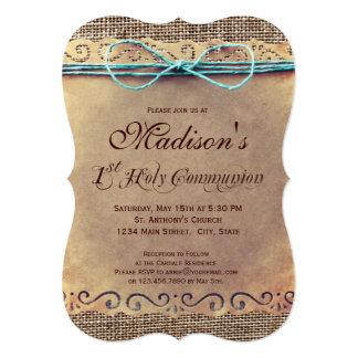 Convites do comunhão do vintage rústico do país øs