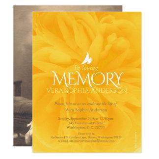 Convites do funeral do rosa amarelo da cerimonia