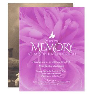 Convites do funeral do rosa do roxo da cerimonia