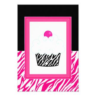 Convites do impressão da zebra do cupcake