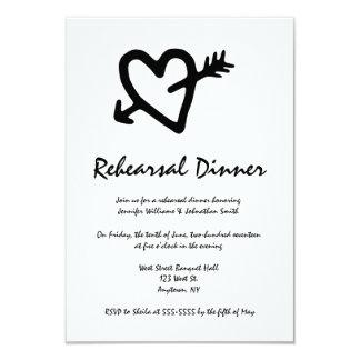 Convites do jantar de ensaio da seta do coração