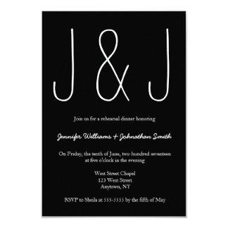 Convites do jantar de ensaio do monograma de B&W