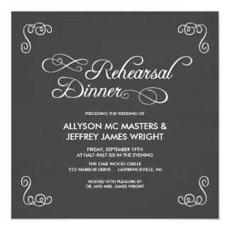 Convites do jantar de ensaio do quadro convite quadrado 13.35 x 13.35cm