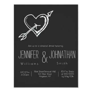 Convites do jantar de ensaio do quadro do coração