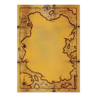 Convites do mapa do tesouro do pirata convite 12.7 x 17.78cm